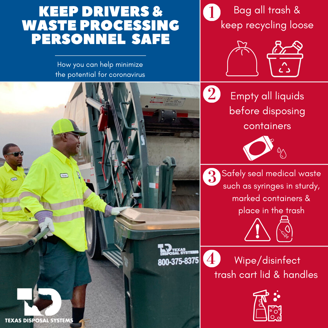 Texas Disposal Systems Offers COVID-19 Tips to Keep Workers Safe