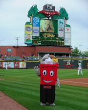 Day Dragons Fifth Third Field Binny Rumpke recycling mascot