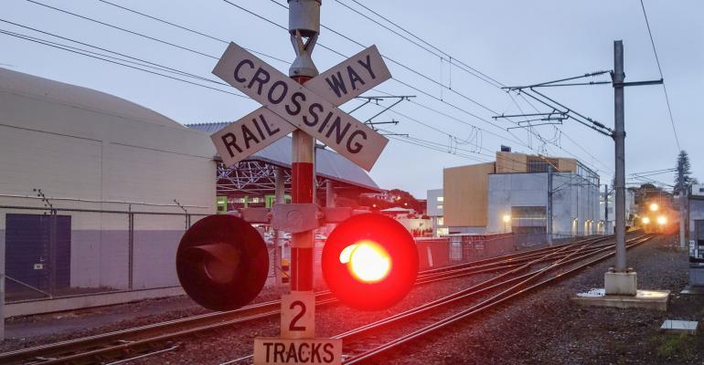 Train approaching a crossing