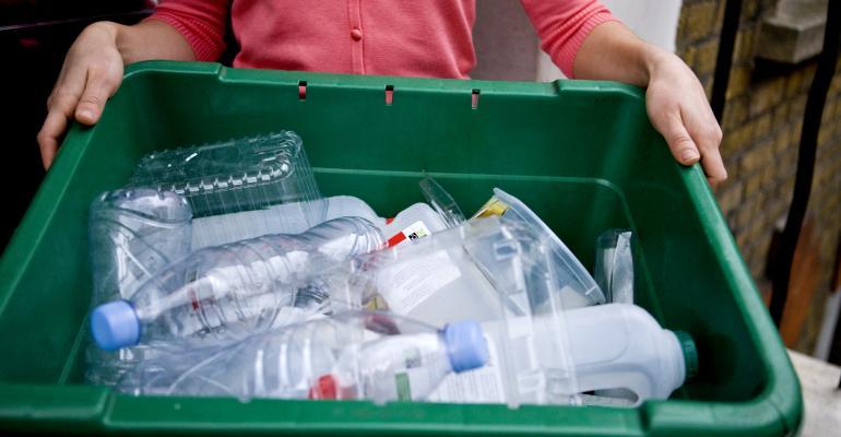 bottles in green bin