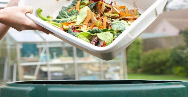 food waste carton into green can