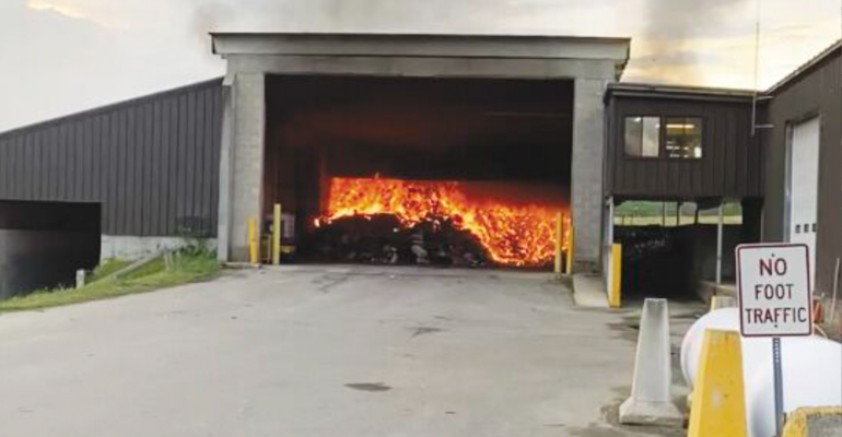 recycling waste facility fire
