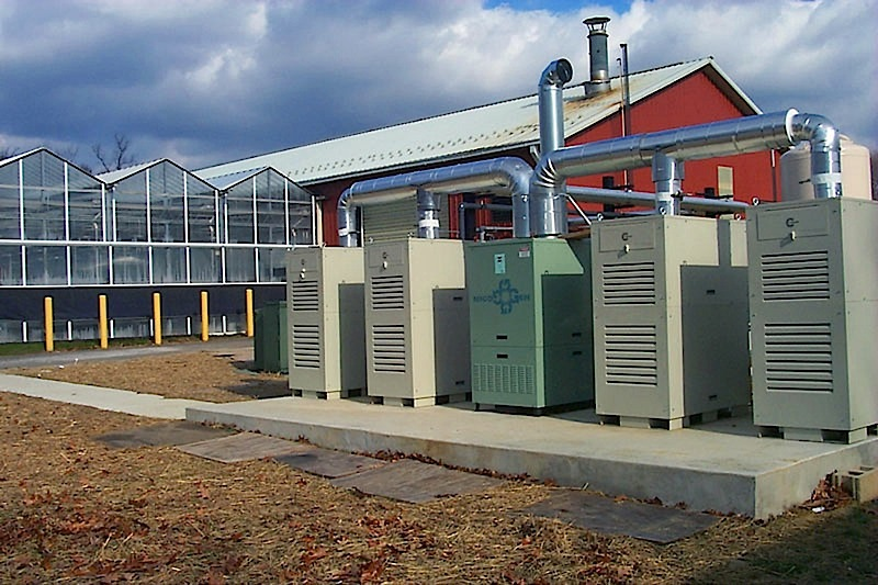 Landfill gas units power greenhouses at the Rutgers University EcoComplex in Bordentown, N.J.